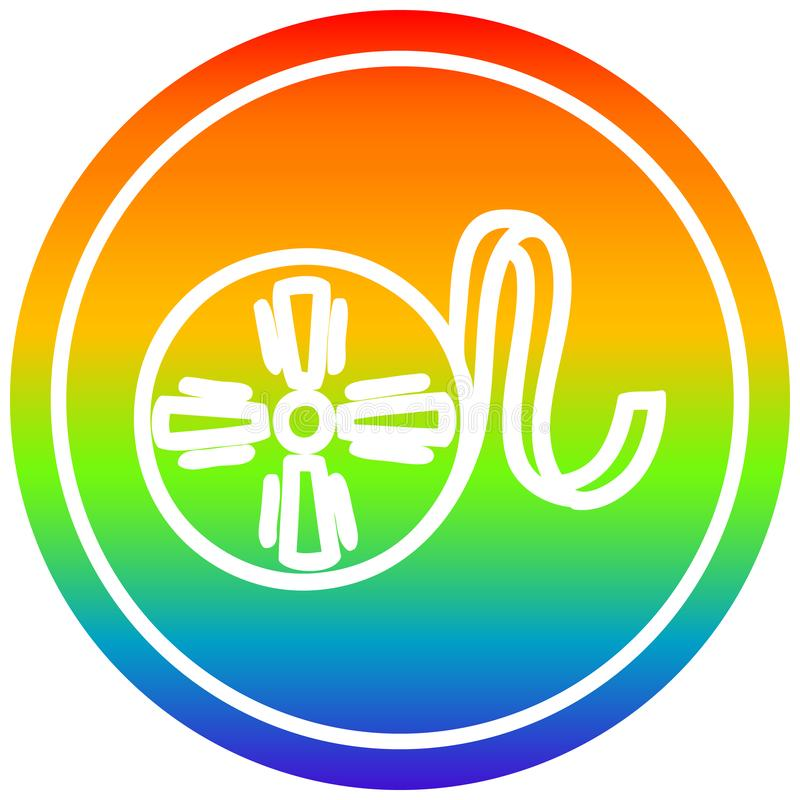 A creative movie film reel circular in rainbow spectrum. An original creative movie film reel circular in rainbow spectrum stock illustration
