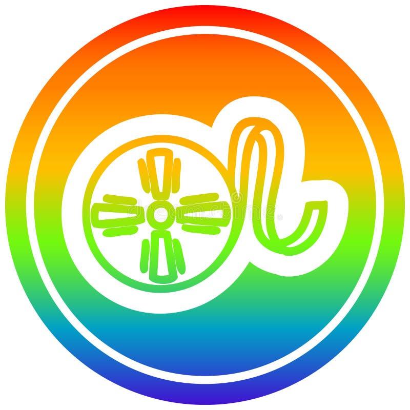 A creative movie film reel circular in rainbow spectrum. An original creative movie film reel circular in rainbow spectrum royalty free illustration