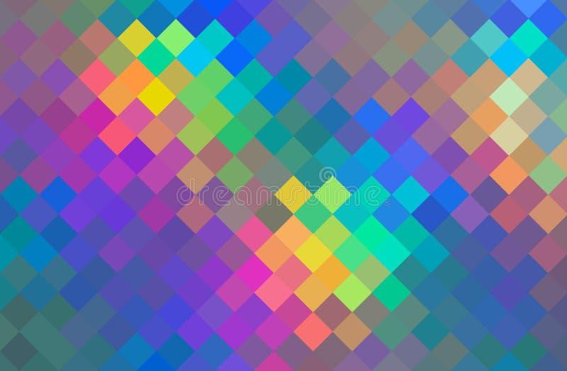 Creative multicolor cristals mosaic texture. Gradient yellow blue green pink geometric pattern. stock illustration