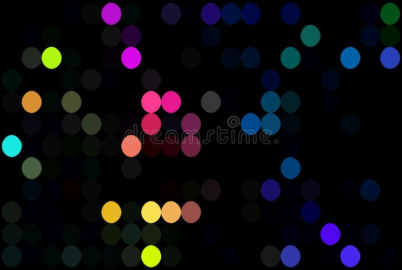 Creative multicolor polka dots pattern. Pink yellow blue bright mosaic on black background. Disco decor. vector illustration