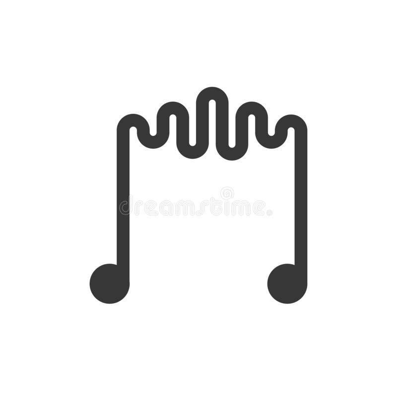 Creative music icon. Vector thin line illustration of musical notes with soundwave for music, sound, studio, music store vector illustration