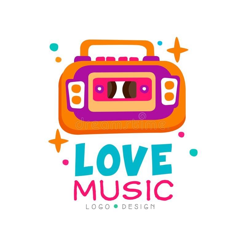 Creative music logo with bright-colored tape recorder. Original vector emblem for record studio, night club or dance stock illustration