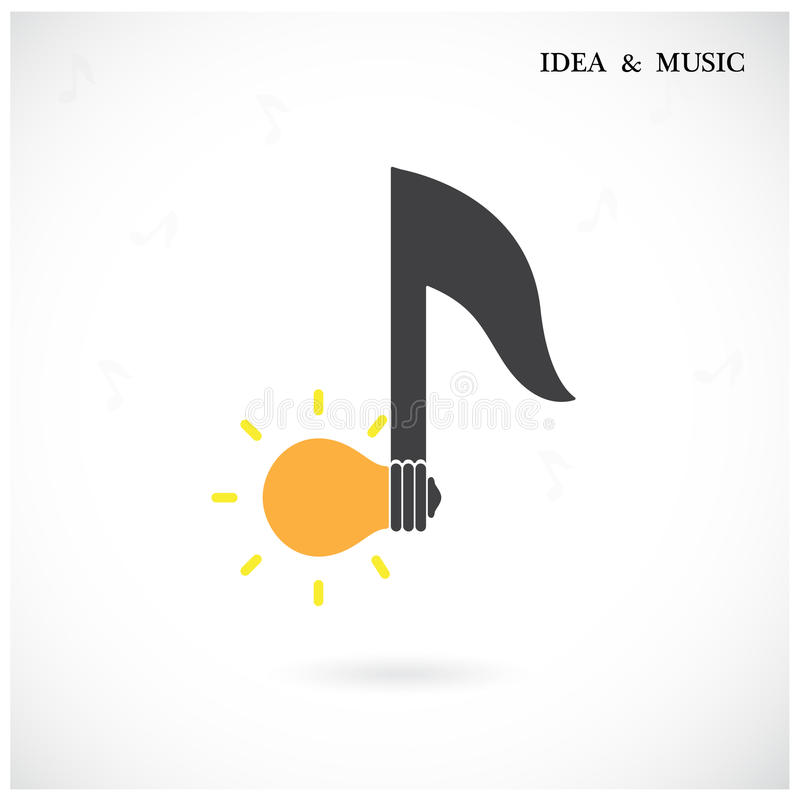 Creative music note sign and light bulb symbol . Idea and musical symbol. vector illustration