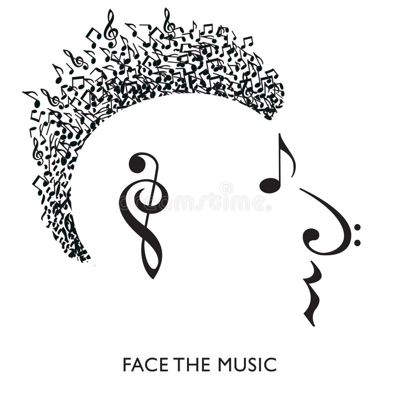 A creative musical face in profile stock illustration