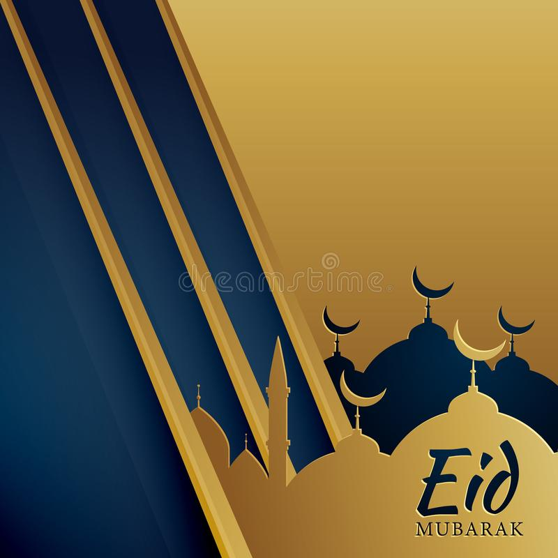 Creative muslim eid festival greeting in golden color vector illustration