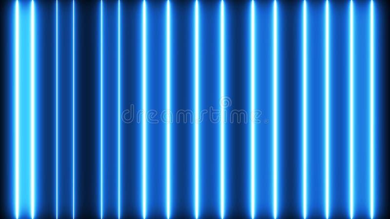 Creative neon bars rendering. Colorful led lines lightning stock illustration