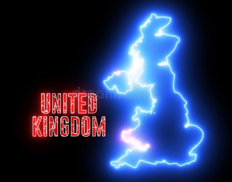 Creative neon map of United Kingdom continent. Shiny glowing outline of Great Britain with text of UNITED KINGDOM stock illustration