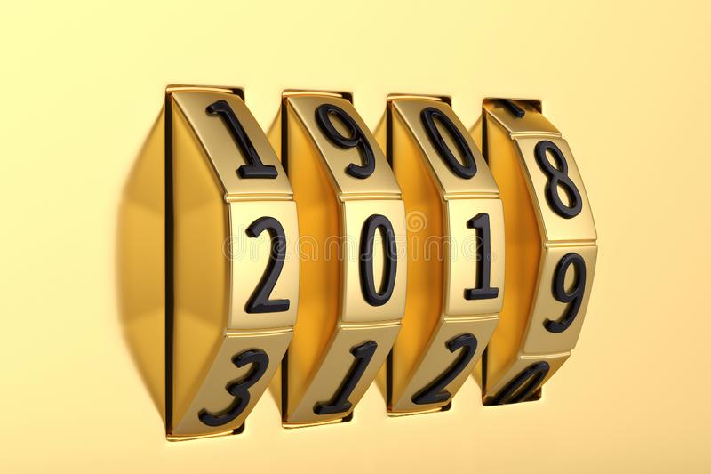 Creative new year concept, Combination number lock. 3D illustration. vector illustration