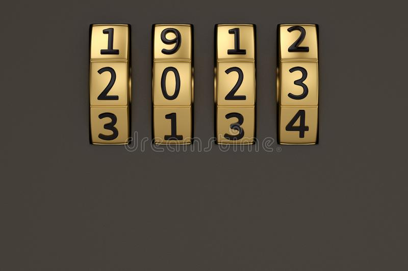 Creative new year concept, Combination number lock. 3D illustration. stock illustration