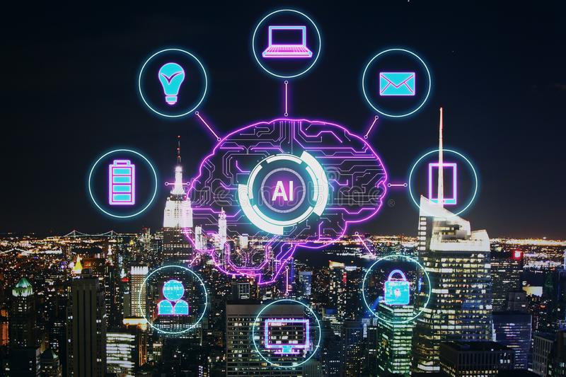 Artificial intelligence and machine learning concept. Creative night city background with AI brain interface. Artificial intelligence and machine learning stock images