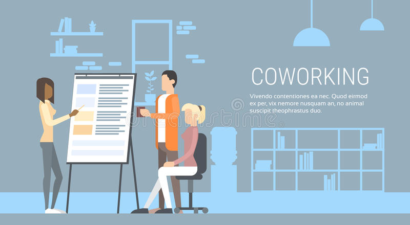 Creative Office Center People Sitting Desk Working Presentation Flip Chart, Students Training University Campus. Creative Office Co-working Center People Sitting stock illustration