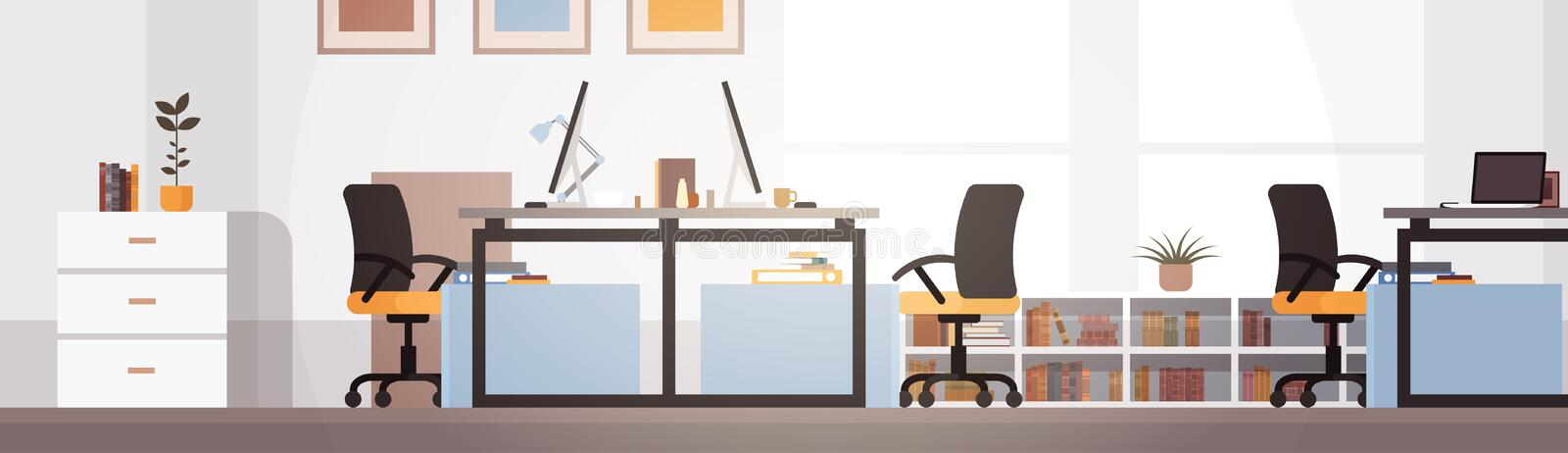 Creative Office Co-working Center University Campus Modern Workplace. Flat Vector Illustration vector illustration