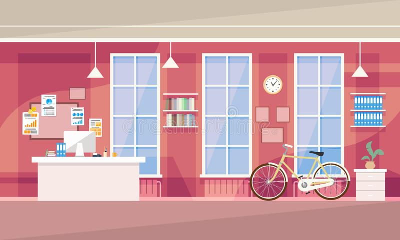 Creative Office Co-working Center, University Campus. Creative Office Co-working Center University Campus Vector Illustration royalty free illustration