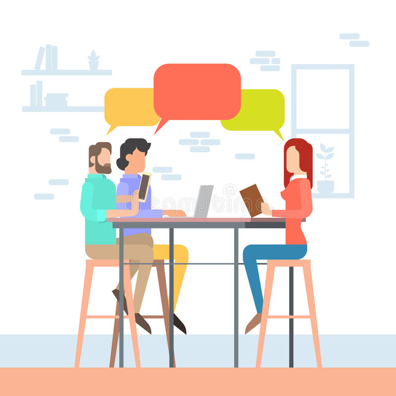 Creative Office Coworking Center People Sitting Desk Together, Students Chat Bubble University Campus. Creative Office Co-working Center People Sitting Desk vector illustration