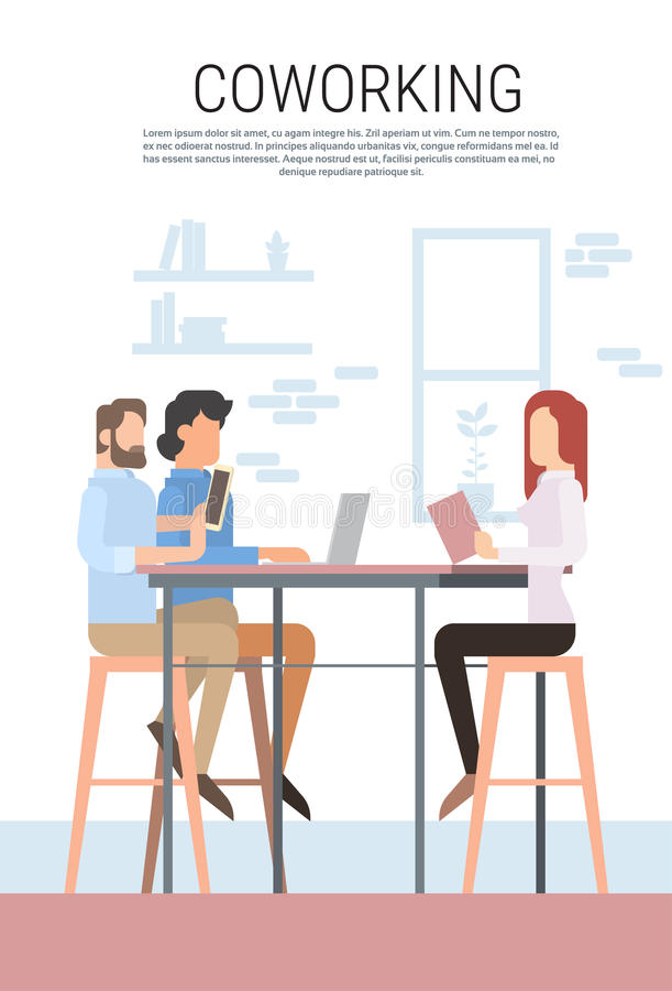 Creative Office Coworking Center People Sitting Desk Together, Students University Campus. Creative Office Co-working Center People Sitting Desk Working Together stock illustration