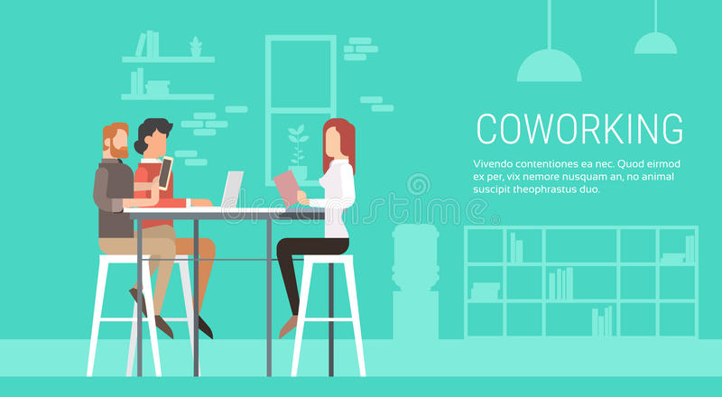 Creative Office Coworking Center People Sitting Desk Together, Students University Campus. Creative Office Co-working Center People Sitting Desk Working Together vector illustration