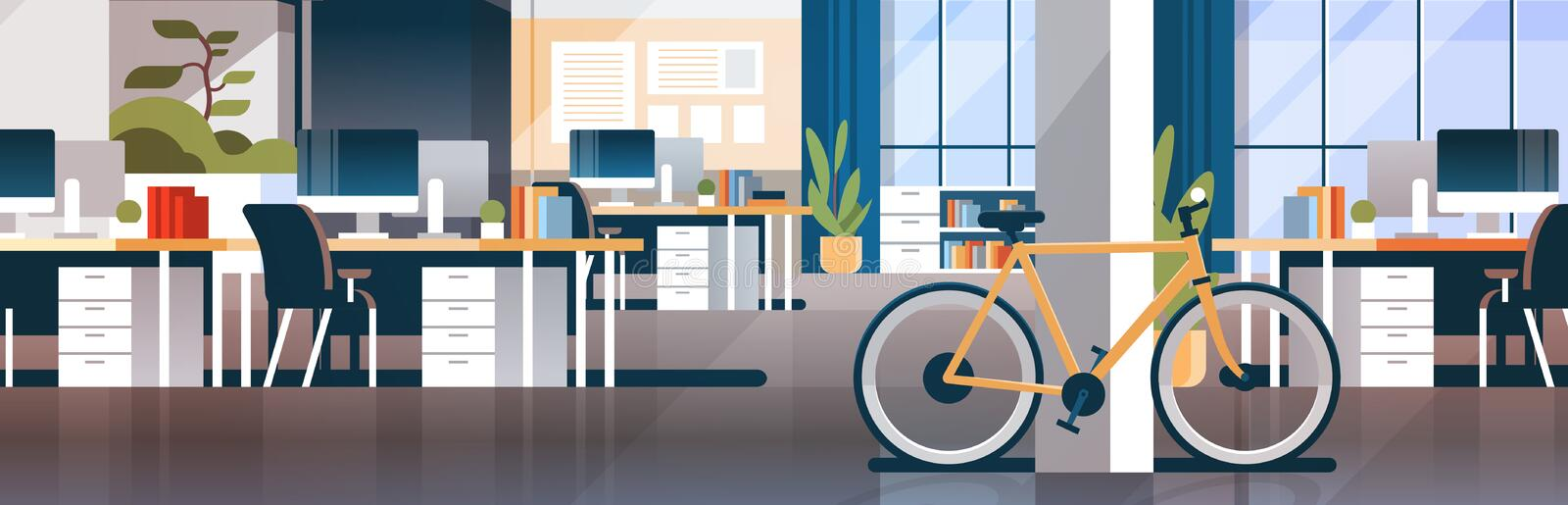 Creative office coworking center room interior modern workplace desk bicycle ecological transport horizontal banner flat vector illustration