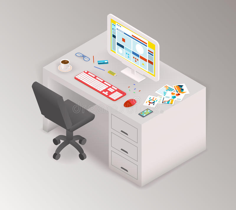 Creative office isometric workspace vector illustration