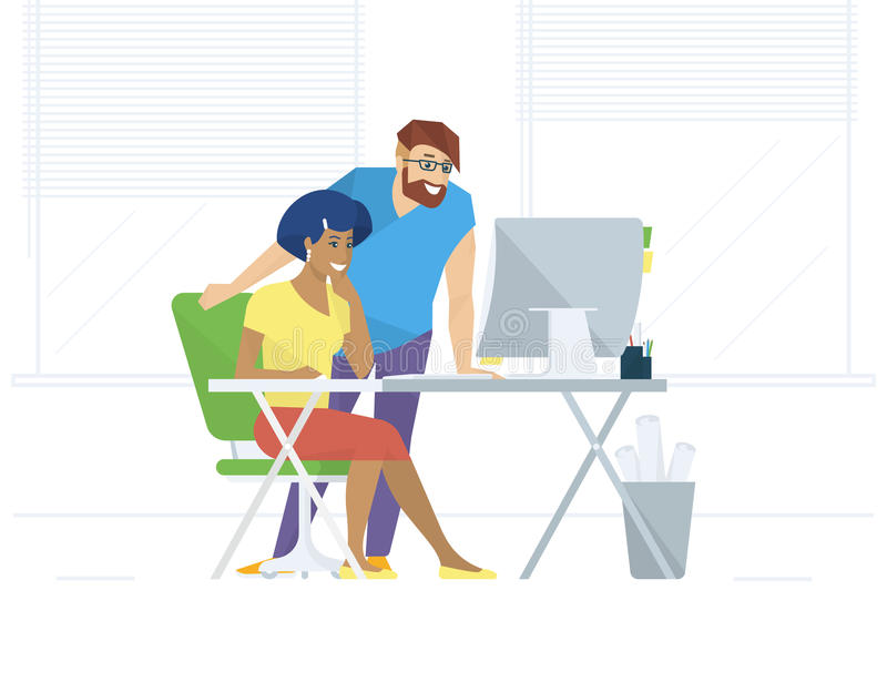 Creative office people working with computer royalty free illustration