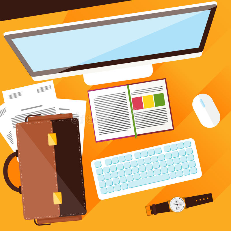 Creative office workplace. Concept with top view of office desk with keyboard, briefcase, stationery and personal accessories of businessman. Flat design modern stock illustration