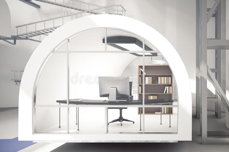 Creative office workplace. Front view of creative office workplace. 3D Rendering stock illustration