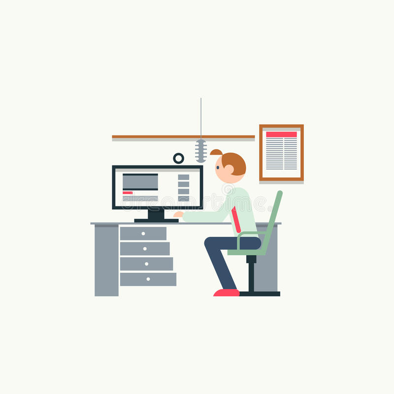 Creative office workspace of blogger with elements, objects. Flat vector ill royalty free illustration