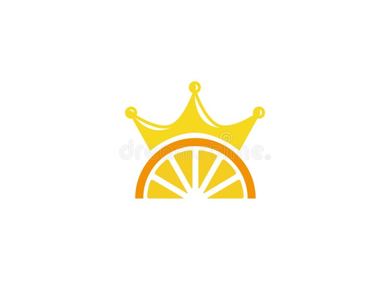 Creative Orange Crown Symbol Logo stock illustration