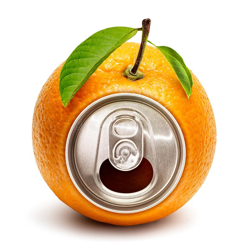 Orange juice can. Creative orange juice ring pull can isolated on white background with clipping path stock image