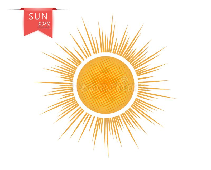 Creative orange, yellow art sun with outgoing dotted rays. The vector element is isolated on a light background. Eps stock illustration
