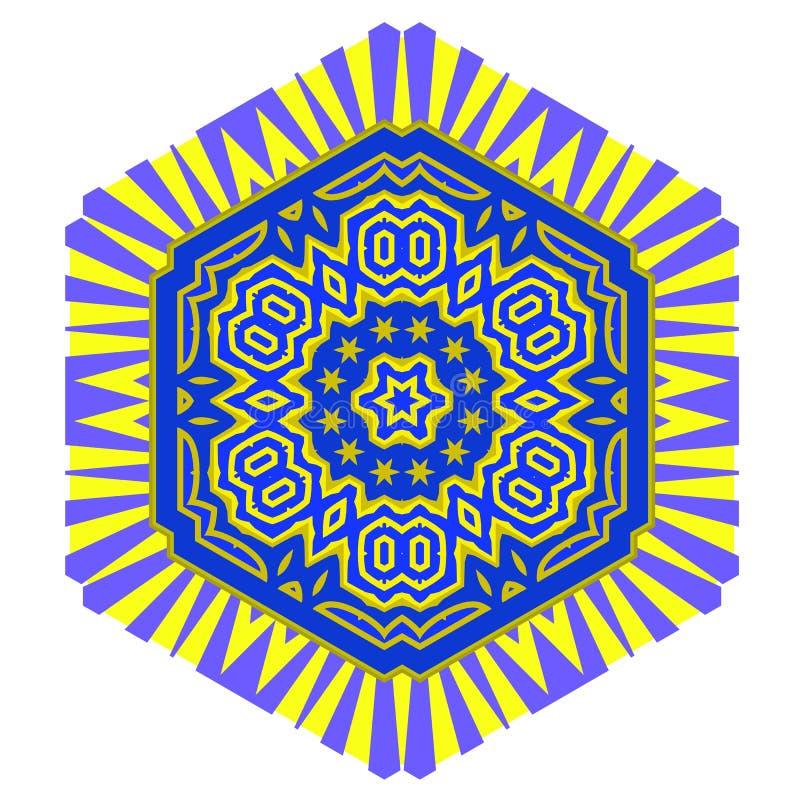 Creative Ornamental Blue Yellow Pattern. stock illustration