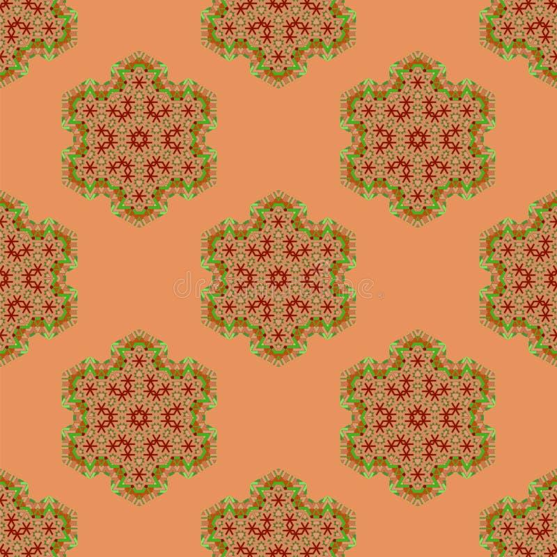 Creative Ornamental Seamless Red Pattern. Geometric Decorative Background royalty free illustration