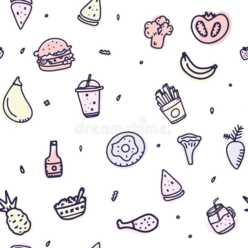 Creative outline food seamless pattern. Hand drawn print menu wallpaper for any purposes. Unhealthy diet eating. royalty free illustration