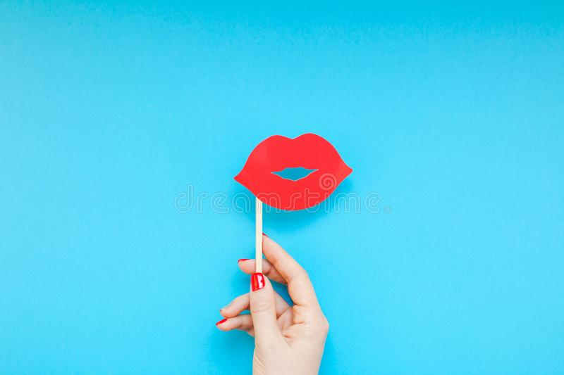 Red paper photo booth props female lips stock image