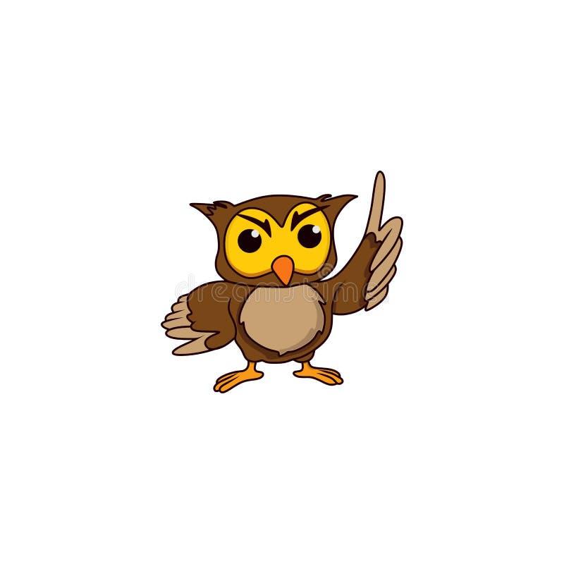 Creative owl logo designs cartoon. Education, smart, smart stock illustration
