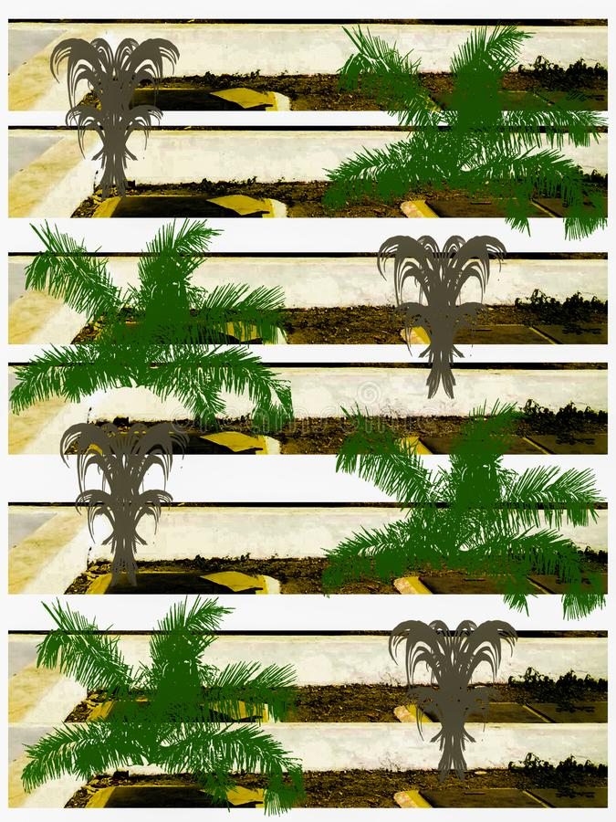 Creative palm tree and abstract seamless pattern graphic 皇族释放例证