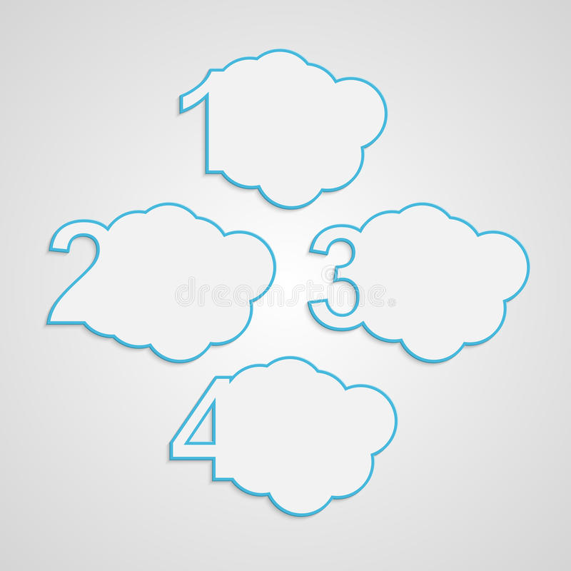 Creative paper colorful numbered clouds infographic. Vector creative paper colorful numbered clouds infographic royalty free illustration