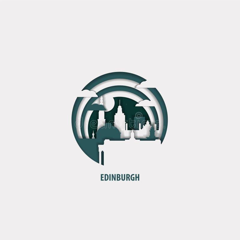 Edinburgh city origami paper vector isolated illustration stock illustration