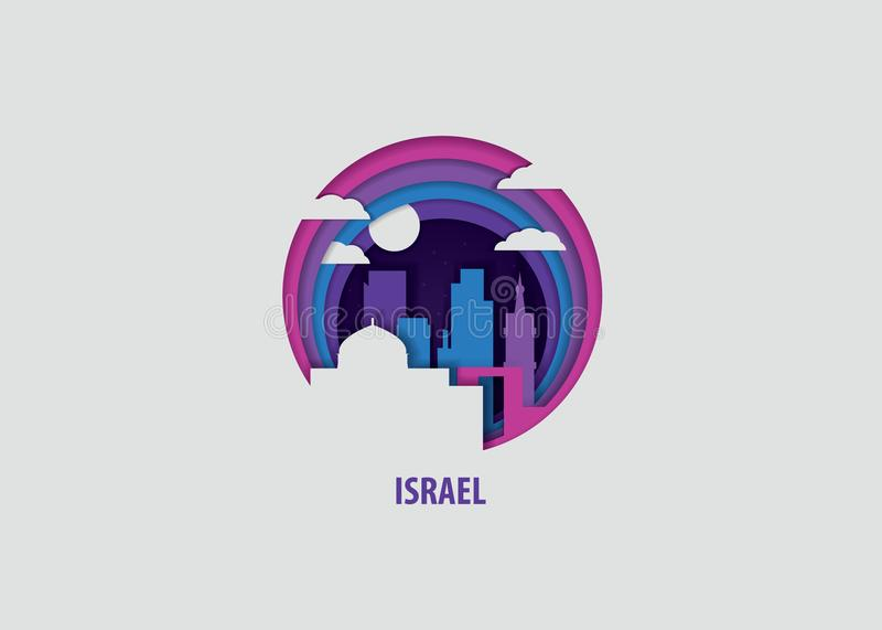 Israel paper cut vector illustration vector illustration