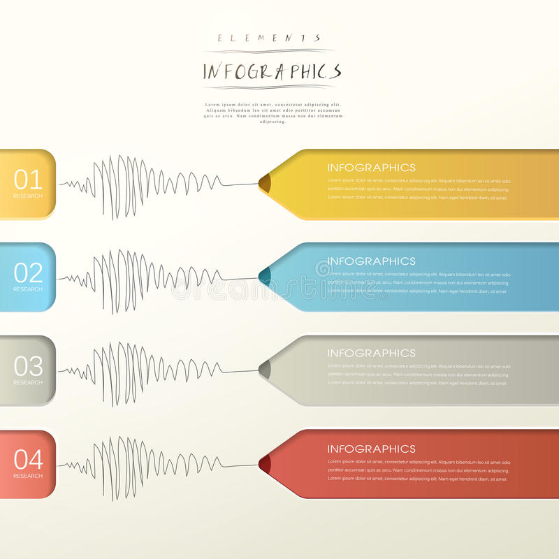 Creative paper pencil bar chart infographic elements. Template vector illustration