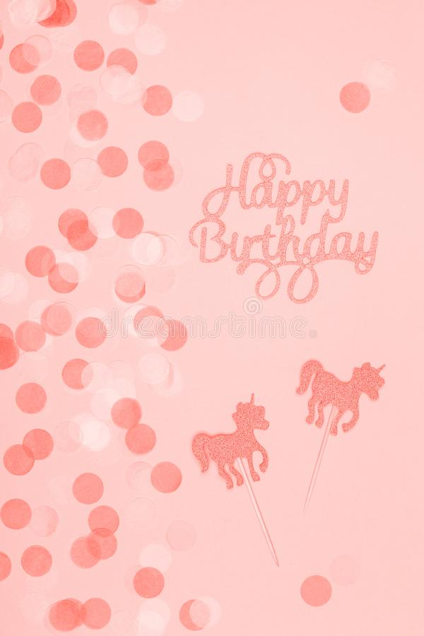 Creative pastel fantasy holiday card with cupcake, happy birthday lettering and unicorn. Baby shower, birthday, celebration stock photos