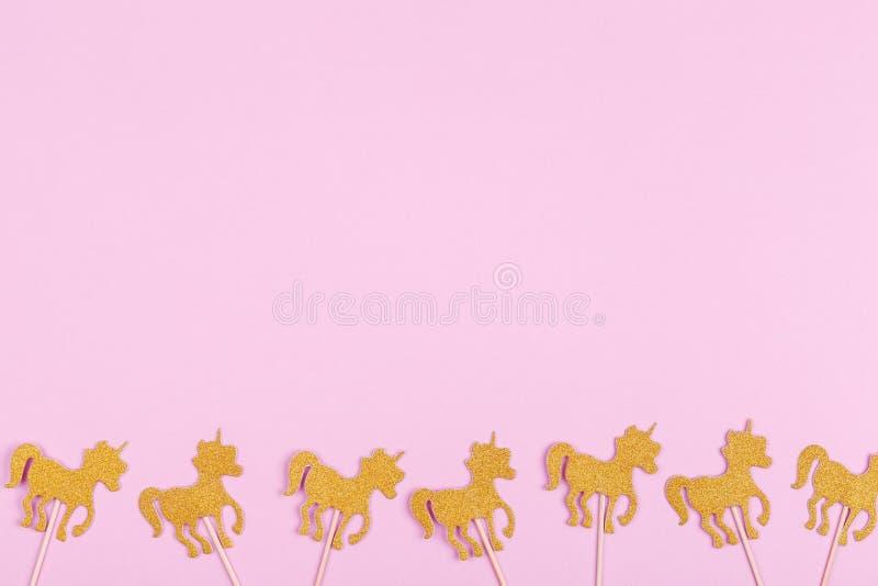 Creative pastel fantasy holiday card with unicorn. Baby shower,. Birthday, celebration concept. Horizontal royalty free stock photo