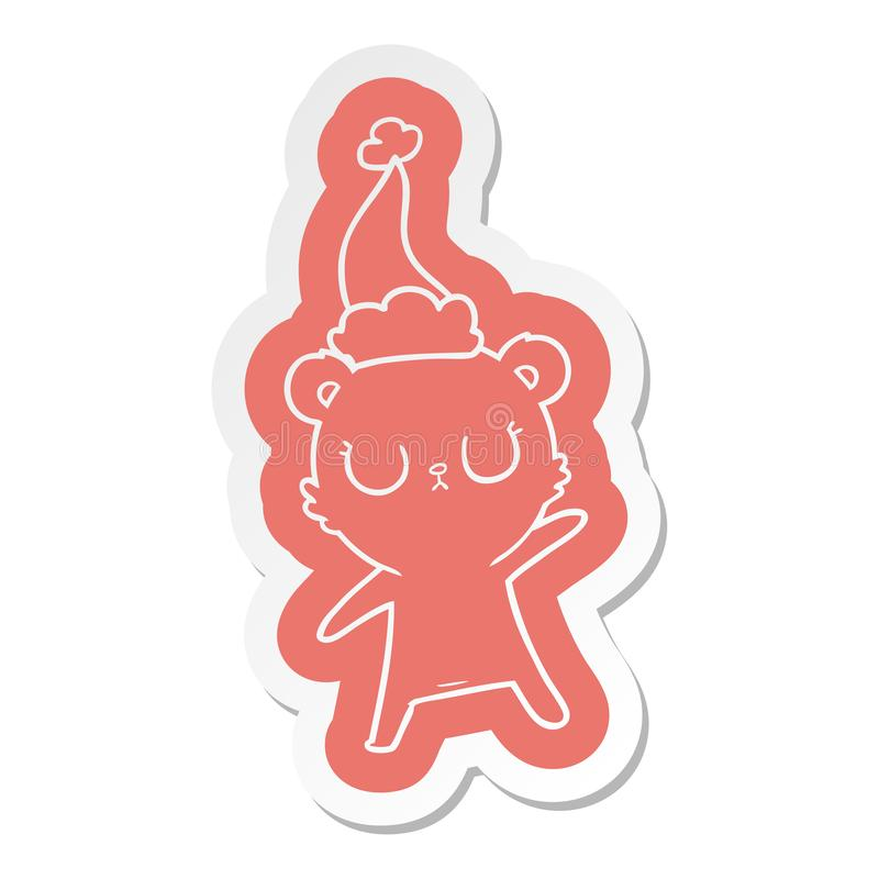 A creative peaceful cartoon  sticker of a bear wearing santa hat. An original creative peaceful cartoon  sticker of a bear wearing santa hat stock illustration