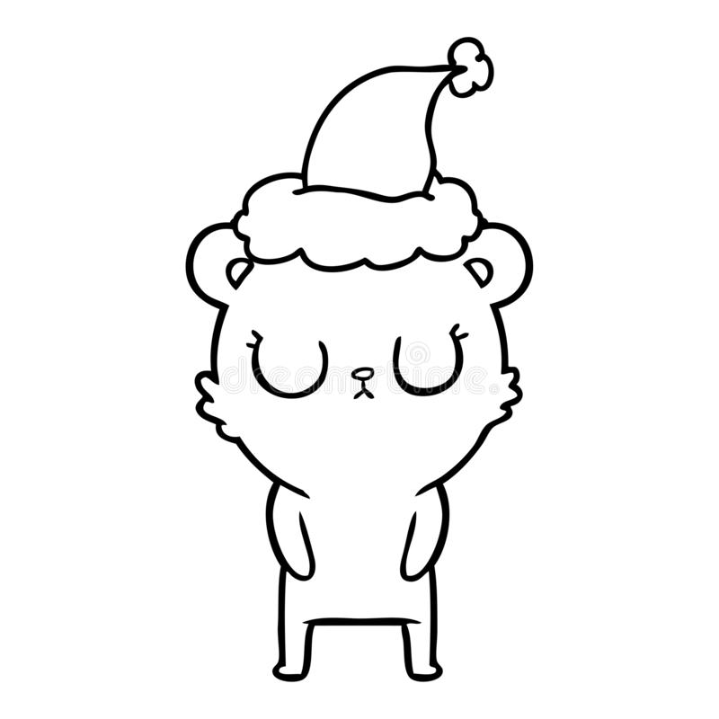 A creative peaceful line drawing of a bear wearing santa hat. An original creative peaceful line drawing of a bear wearing santa hat vector illustration