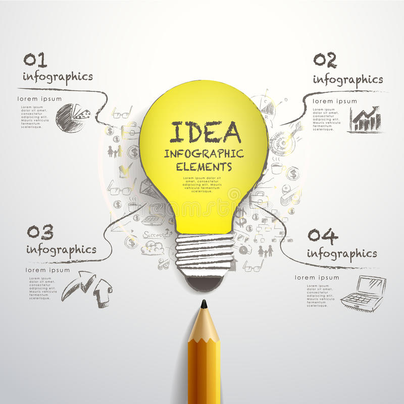 Free Creative Pencil And Hand-draw Paper-cut Bulb Infographics Royalty Free Stock Images - 40915939