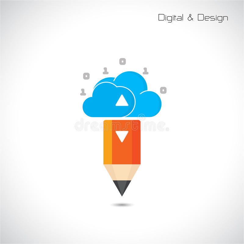 Creative pencil and cloud symbol. Flat design style and digital stock illustration