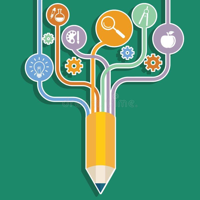 Creative pencil concept Growth Tree idea, Vector illustration Modern template Design royalty free illustration