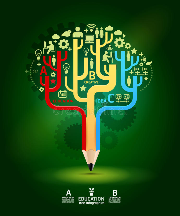 Creative pencil concept Growth Tree idea, Vector illustration royalty free illustration