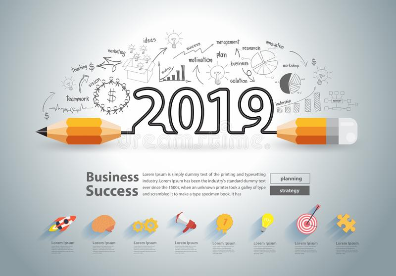 Creative pencil design on drawing charts graphs New year 2019 stock illustration