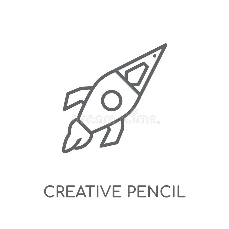 creative pencil rocket linear icon. Modern outline creative penc vector illustration