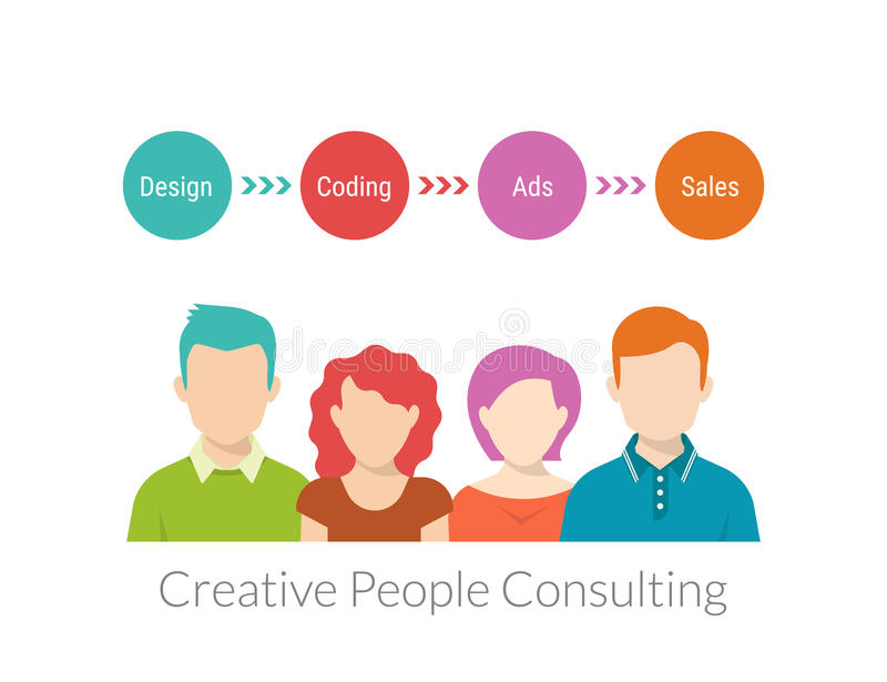 Creative people consulting. With timeline. Text outlined. Free font Roboto Condensed stock illustration